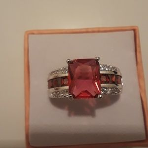 925 Silver and stamped ruby gemstones ring size 8